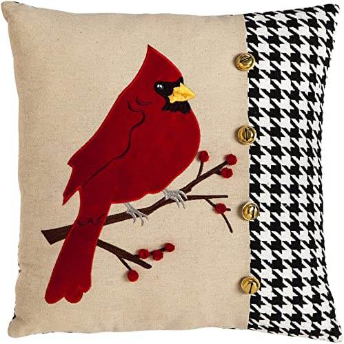 Cypress Home Cardinal Houndstooth 18 inch Cotton Polyester Pillow