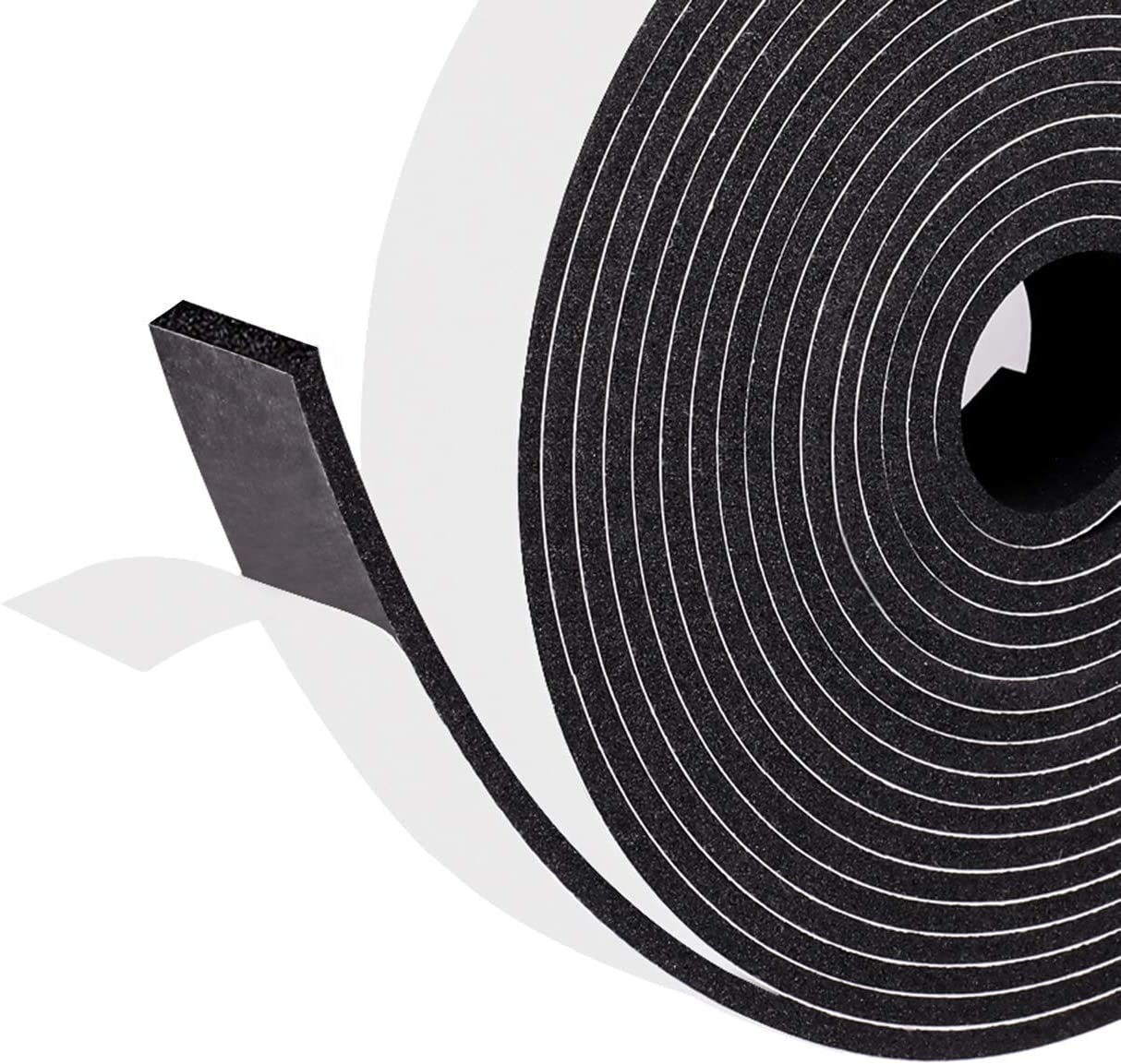 """Window Insulation Door Jamb Gasket Foam Strips Tape for Soundproofing and Insulation,1"""" W X 1/8"""" T X 32' L, 16ft X 2 Rolls Total 32ft"""