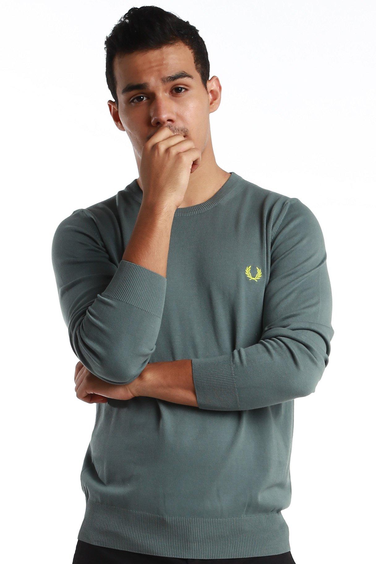 Fred Perry Green Label Men's Sweatshirt Medium Leaf Grey Crew Neck Sweatshirt with Yellow ''laurel''