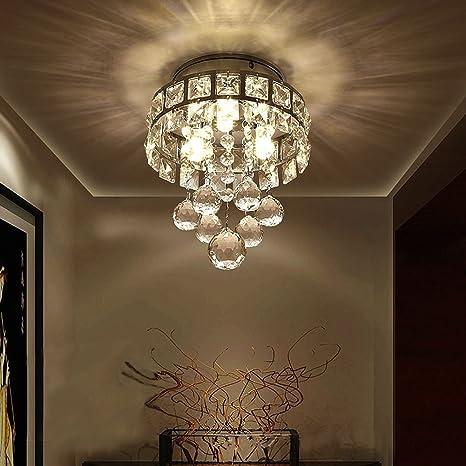 Mini Style 3 Light Chrome Finish Crystal Chandelier Pendent Light For  Hallway,Bedroom,
