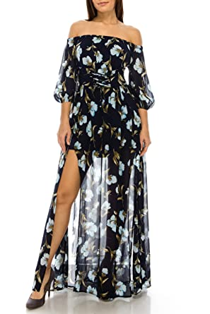 b4fe83d5122 StyleEvery1 Women Sexy 3 4 Sleeve Off Shoulder Floral Printed High Split  Casual Party Maxi