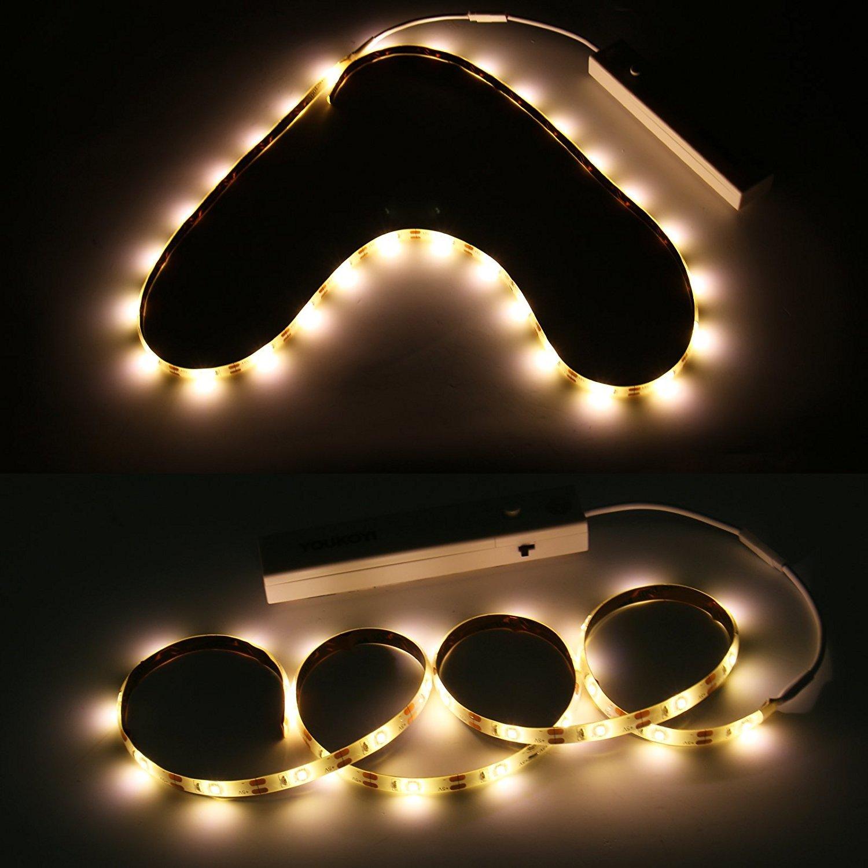 Aoile 5V LED Night Light ,Flexible Led Strip with Motion Sensor Bar Lamp,Human Body Induction Wardrobe Closet Lamp for Closets,Cabinet,Wardrobe,Utility Rooms,Stairs, 2PCS/Set