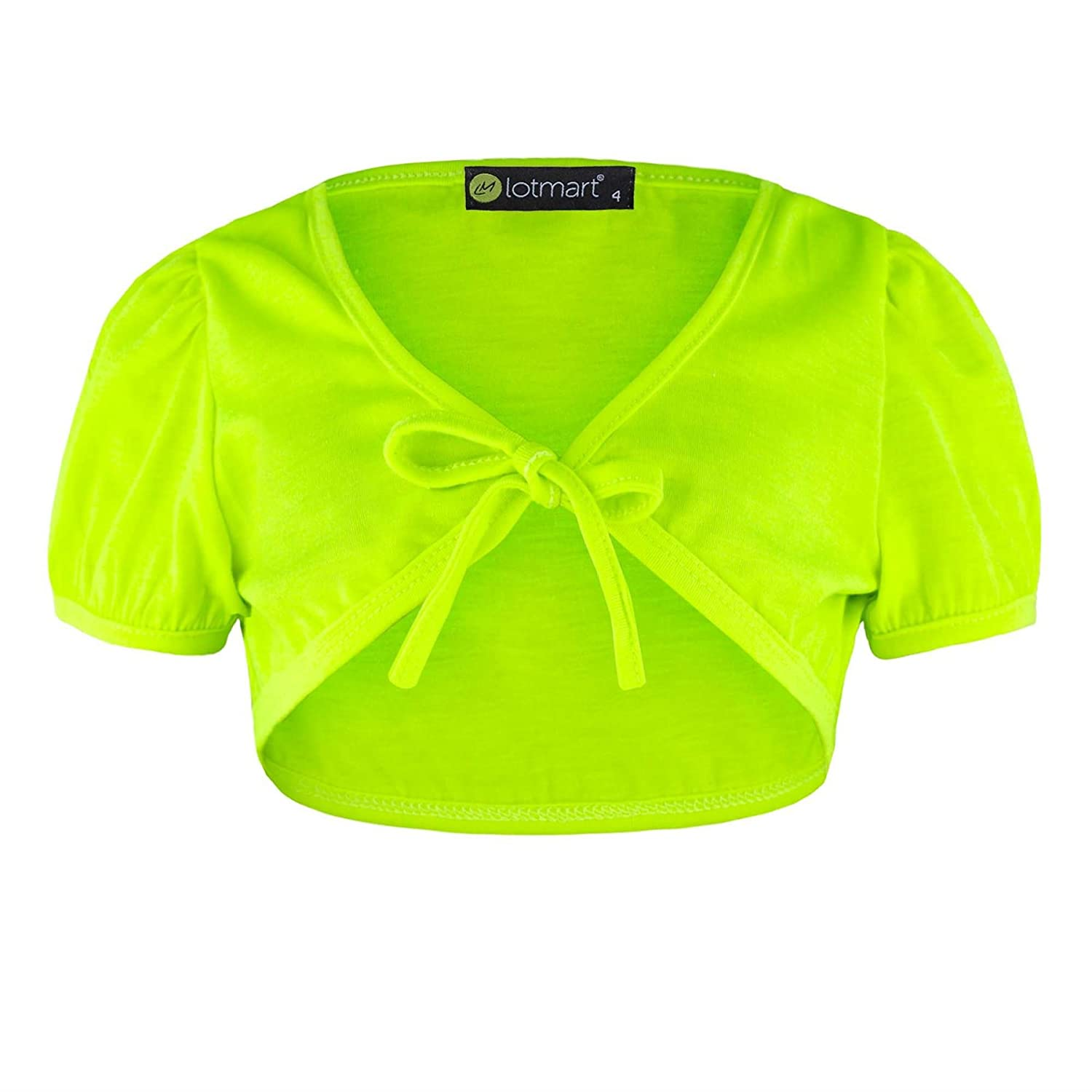 Girls Cropped Shrug Kids Tie Up Front Bolero Short Cap Sleeve Top
