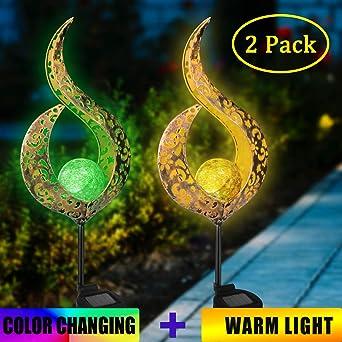 2 lámparas solares de jardín Crack, bolas de cristal, metal, luz LED decorativa para exterior, lámpara solar para exterior, 1 luz amarilla cálida + 1 luz de colores RGB: Amazon.es: Iluminación
