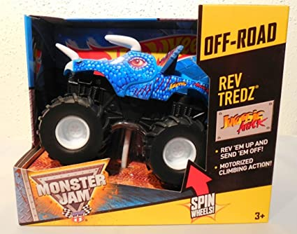 Amazon Com Hot Wheels Rev Tredz Jurassic Attack Blue Dinosaur Monster Jam Off Road Spin Wheels New And Rare 2014 Toys Games