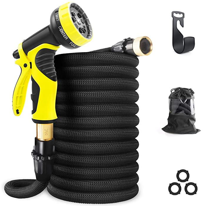 "Aterod Expandable Garden Hose, 50ft Strongest Flexible Water Hose, 9 Functions Sprayer with Double Latex Core, 3/4"" Solid Brass Fittings, Extra Strength Fabric - Upgraded Lightweight Expanding Hose"