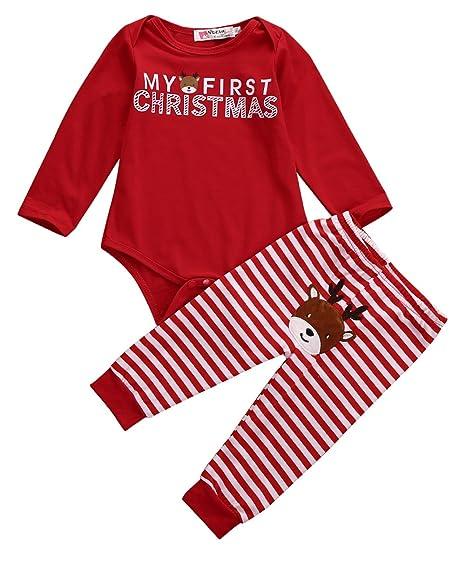 b601026ff Amazon.com: Ka Milka Baby My First Christmas 2 Piece Red Bodysuit & Striped  Pant Set: Clothing