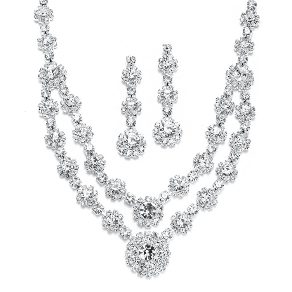 Mariell Regal Silver 2 Row Rhinestone Crystal Necklace and Earrings Set for Prom, Brides and Bridesmaids