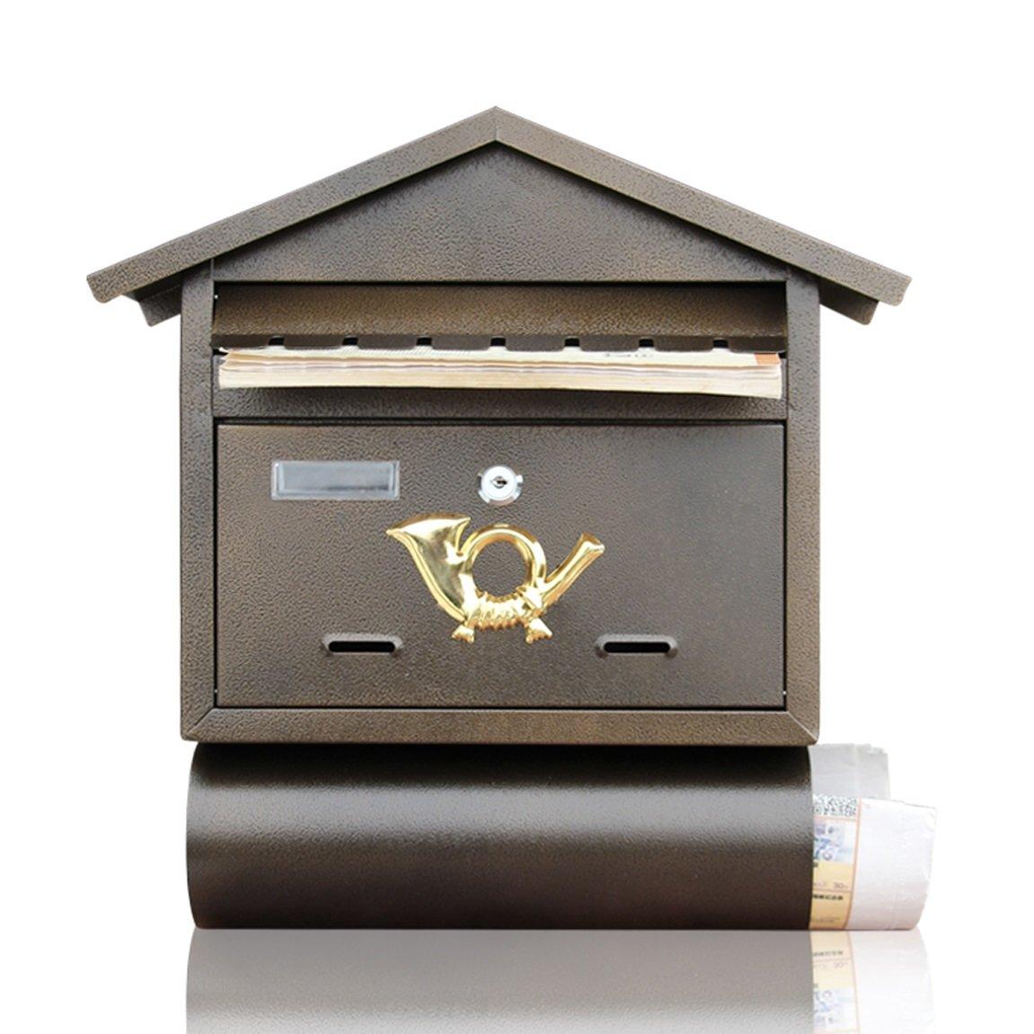 Mzl Madera Maciza Europea Villa buz/ón de Madera Caja de Documentos Impermeable al Aire Libre montado en la Pared con Llave