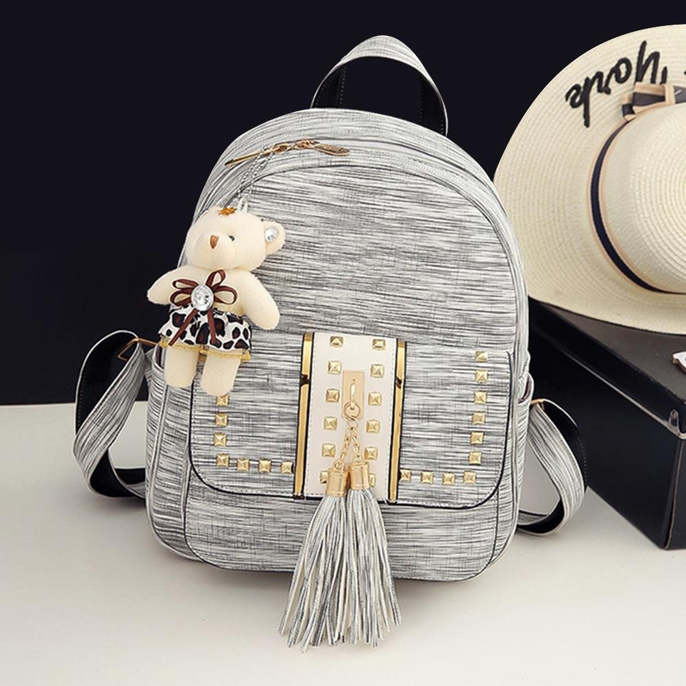 Amazon.com  Gowind7 Women Backpack Sets 3Pcs Girls PU Leather Shoulder Bag  Tassel Rivet Bag+Handbag+ Card Bag(Grey)  Shoes d55f057ef89b1