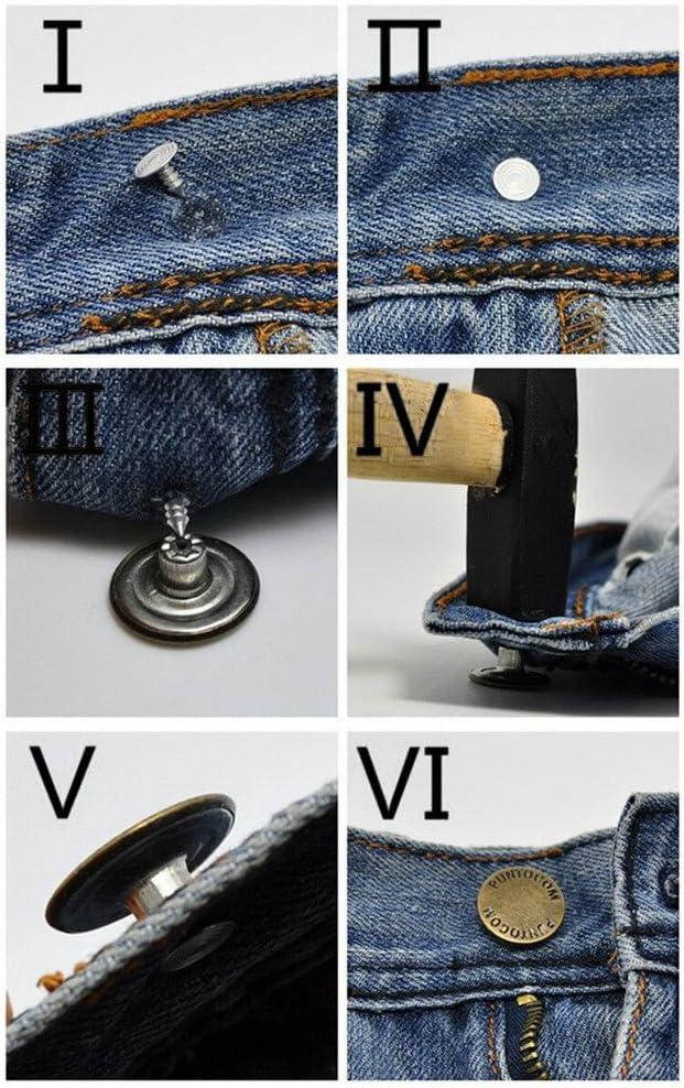 Jeans Bouton 10 Pièce Avec Rivets Fer Argent 23 mm Taille #1328#
