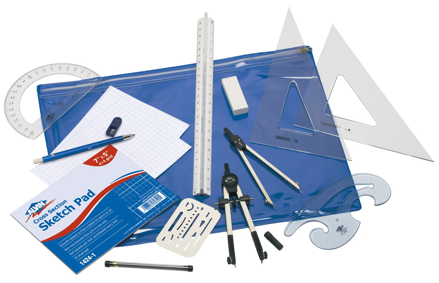 Alvin, BDK-1E, Basic Beginner's Drafting Engineers' Kit, Drawing and Geometry Set by Alvin