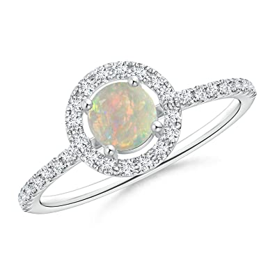 Angara Oval Shaped Opal Bypass Ring in Rose Gold - October Birthstone Ring aQN4v