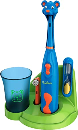 Brusheez® Kids Electric Toothbrush Set (Carnivore Edition) - Battery Operated, Soft Bristles, Easy On/Off, 2 Brush Heads, Animal Cover, Sand Timer, Rinse Cup, and Base - Ages 3+ (Buddy The Bear)