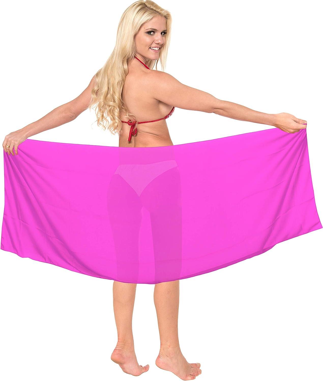 LA LEELA Sheer Chiffon Nightwear Women Swim Printed Sarong Scarf Scarves Shawls Pink_p651