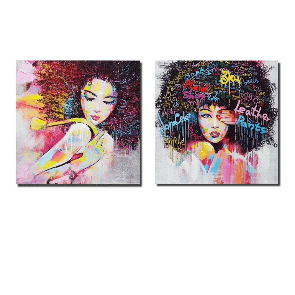 Pinetree Art African American Black Art Canvas Wall Art, Original Designed Pop Graffiti Style Canvas Painting on Print (40 x 40 inch, C Unframed & D Unframed)