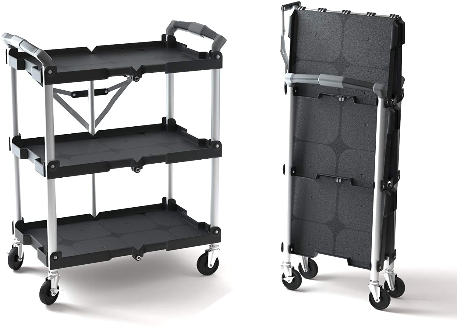 Amazon Com Olympia Tools 85 188 Pack N Roll Folding Collapsible Service Cart Black 50 Lb Load Capacity Per Shelf Home Improvement