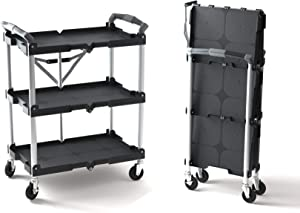 Olympia Tools 85-188 85-188 Pack-N-Roll Folding Collapsible, 65 Lb/Level, Abs, Steel, Aluminum, Rubber, 150LB Capacity Service Cart, Black