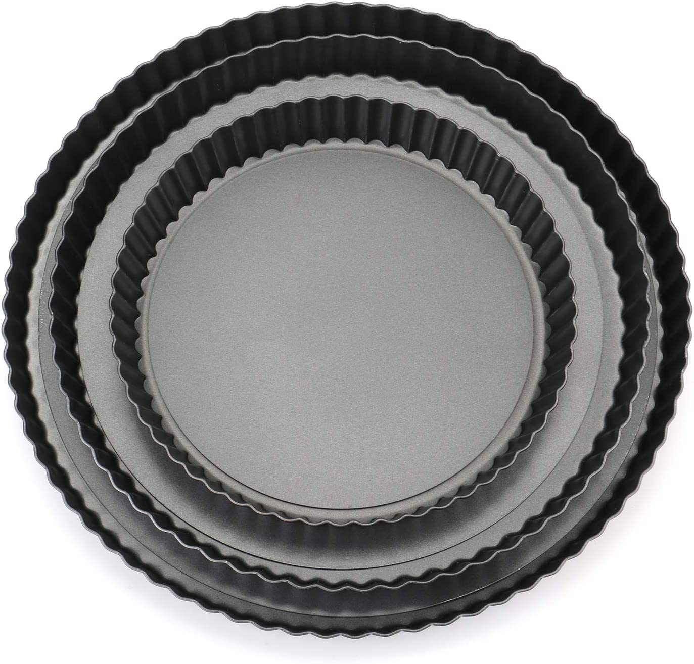 Tosnail Non-stick Quiche Pan Tart Pan Pie Pan with Removable Loose Bottom - Set of 3