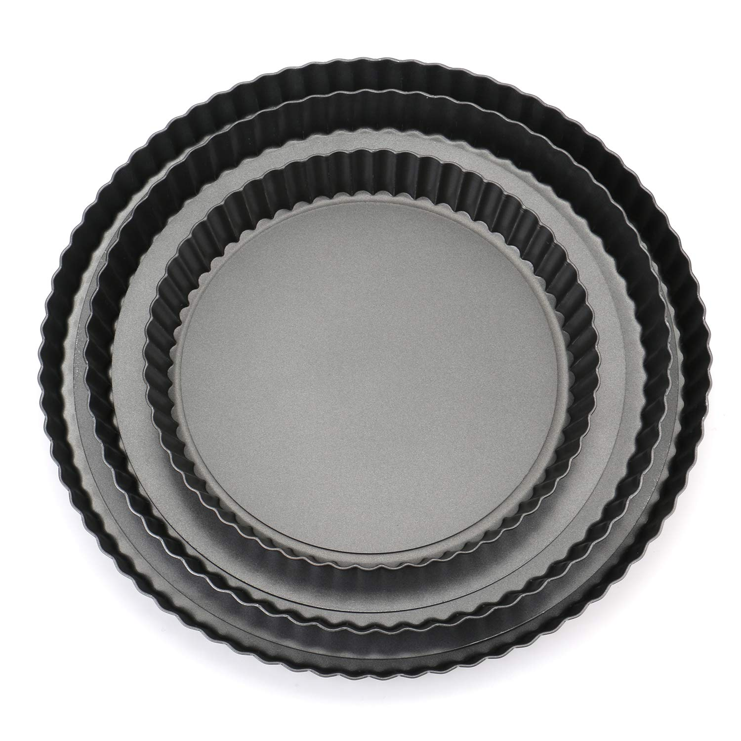 Tosnail Non-stick Quiche Pan Tart Pan Pie Pan with Removable Loose Bottom - Set of 3 by Tosnail
