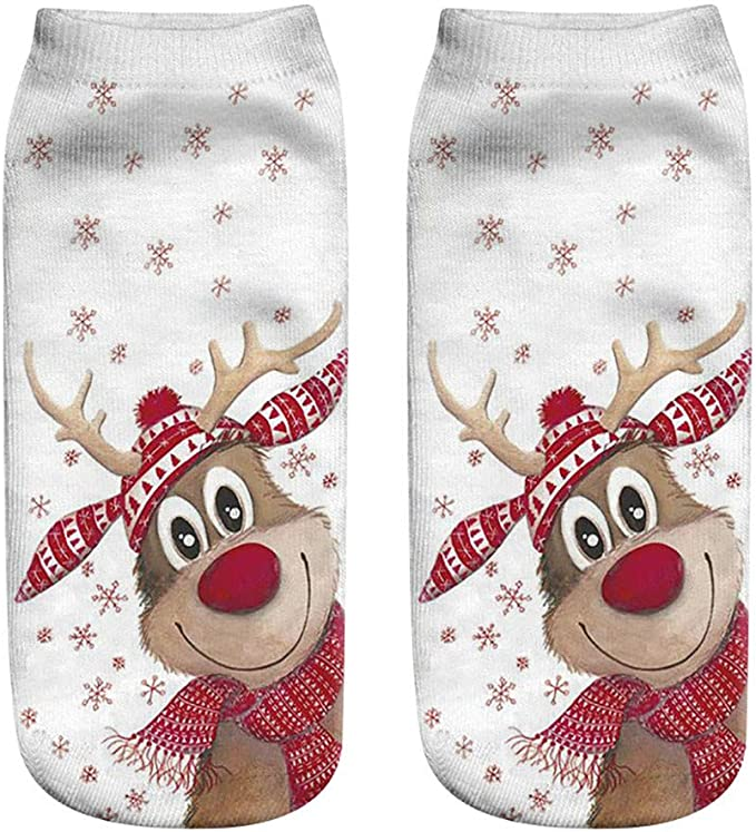 3D Print Christmas Women Girl Casual Boat Socks Cute Unisex Low Cut Ankle Socks