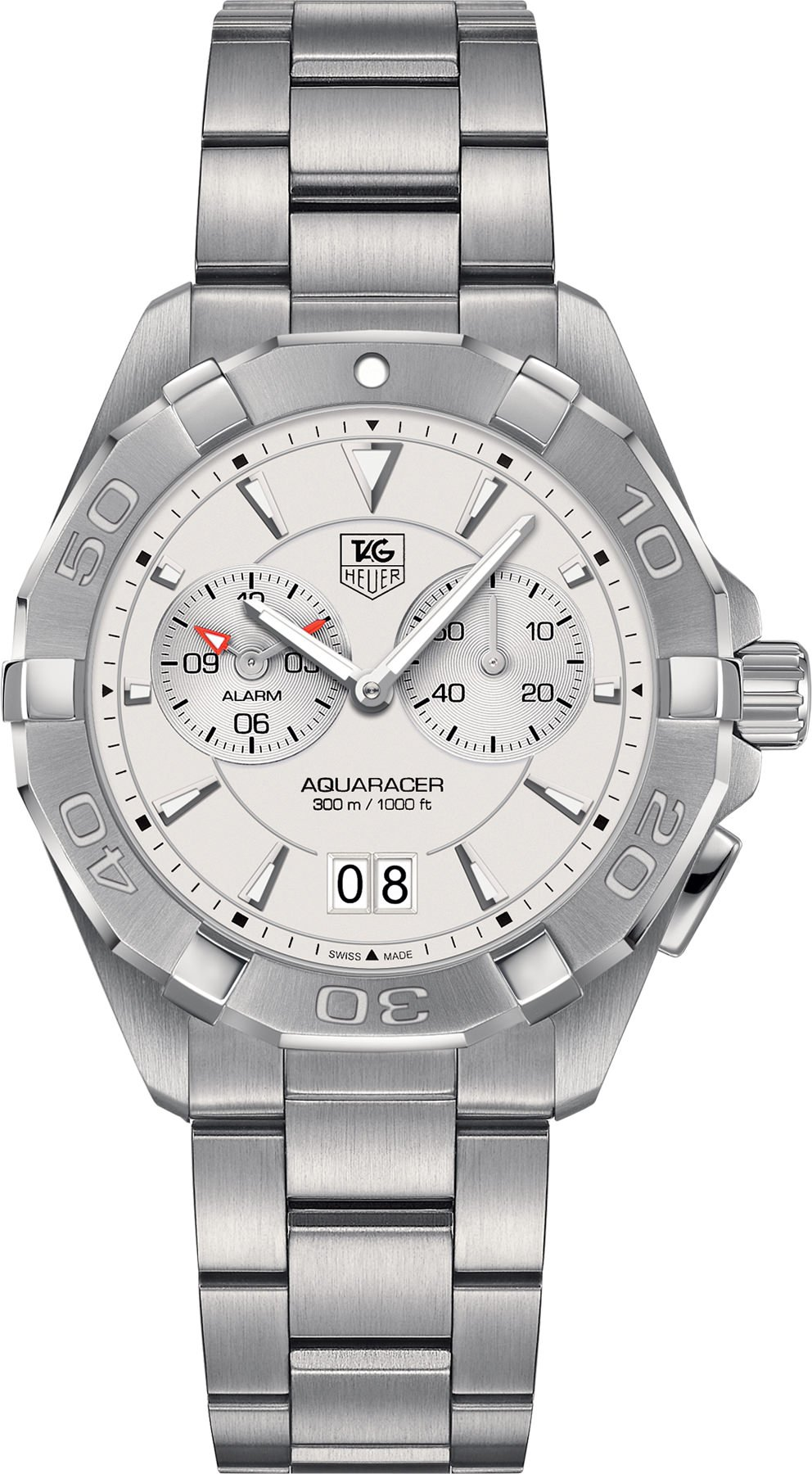 Aquaracer Chronograph Silver Opalin Dial Stainless Steel Mens Watch WAY111Y.BA0928