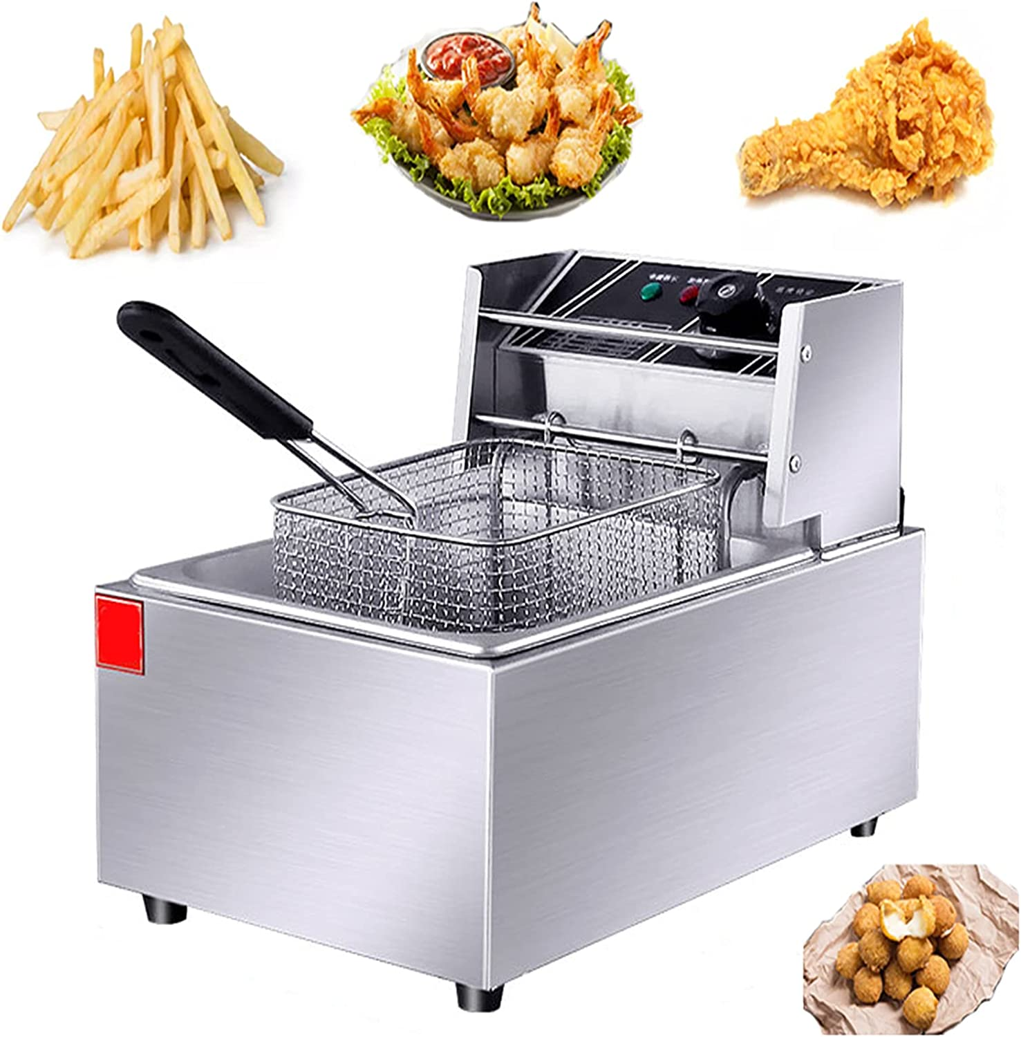 NEWTRY Commercial Deep Fryer 6L Single-Cylinder 2500W Countertop Deep FryerStainless Steel Professional Commercial Frying Machine for French Fries Fish Restaurant Home Kitchen