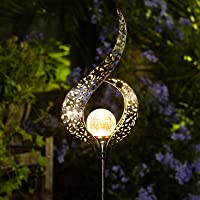 Homeimpro Outdoor Solar Lights Garden Crackle Glass Globe Stake Lights,Waterproof LED Lights for Garden,Lawn,Patio or…