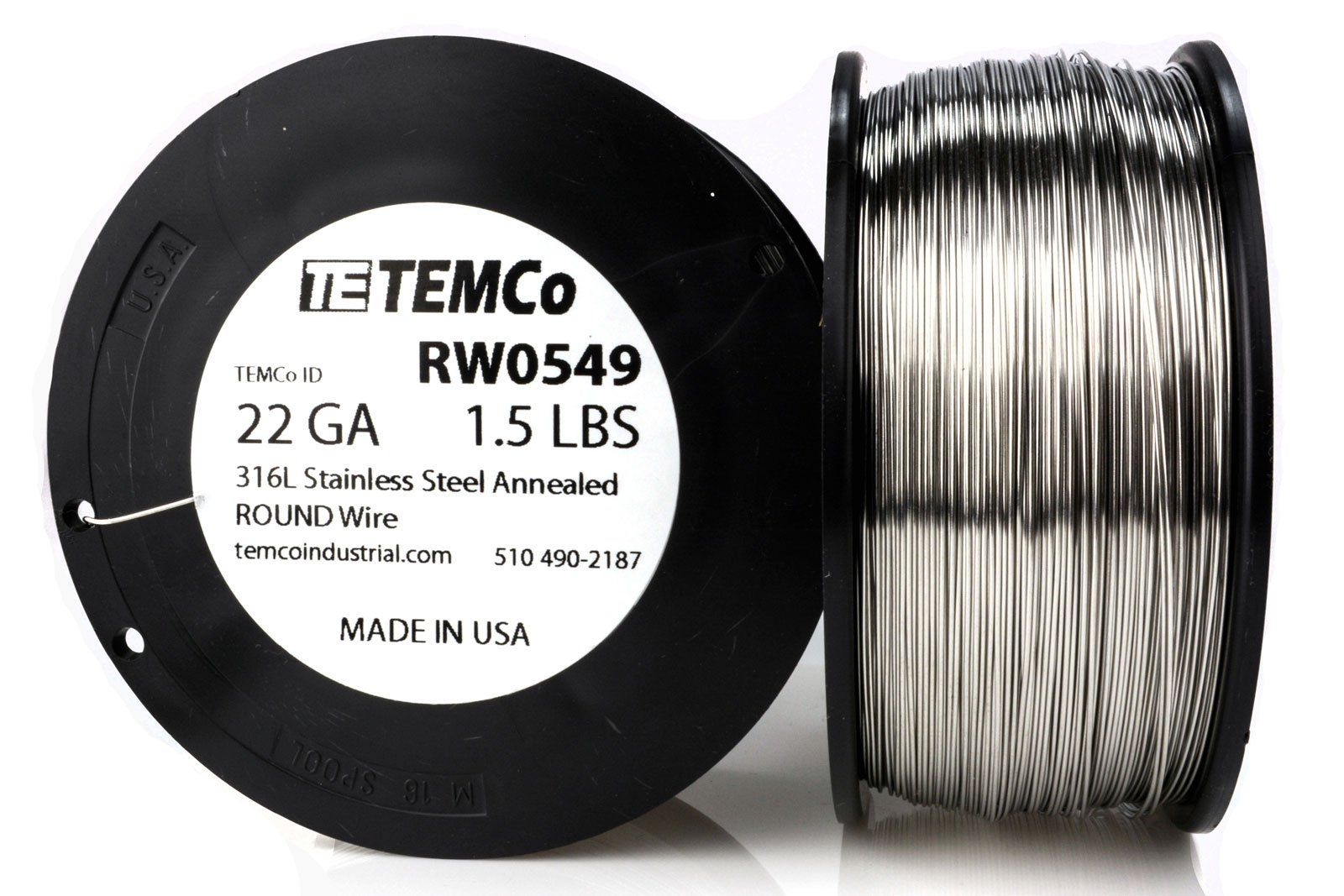 TEMCo Stainless Steel Wire SS 316L - 22 Gauge 1.5 lb (870 ft) Non-Resistance AWG ga
