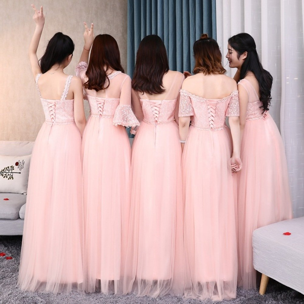 HDJJKSH Vestido de dama de honor rosa vestido de dama de honor de ...