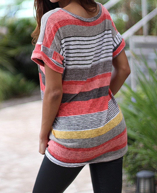 EUFANCE Camicie Estive da Donna Casual Pullover Shirt Manica Corta Scollo av Camicetta Top Patchwork Elastico a Righe