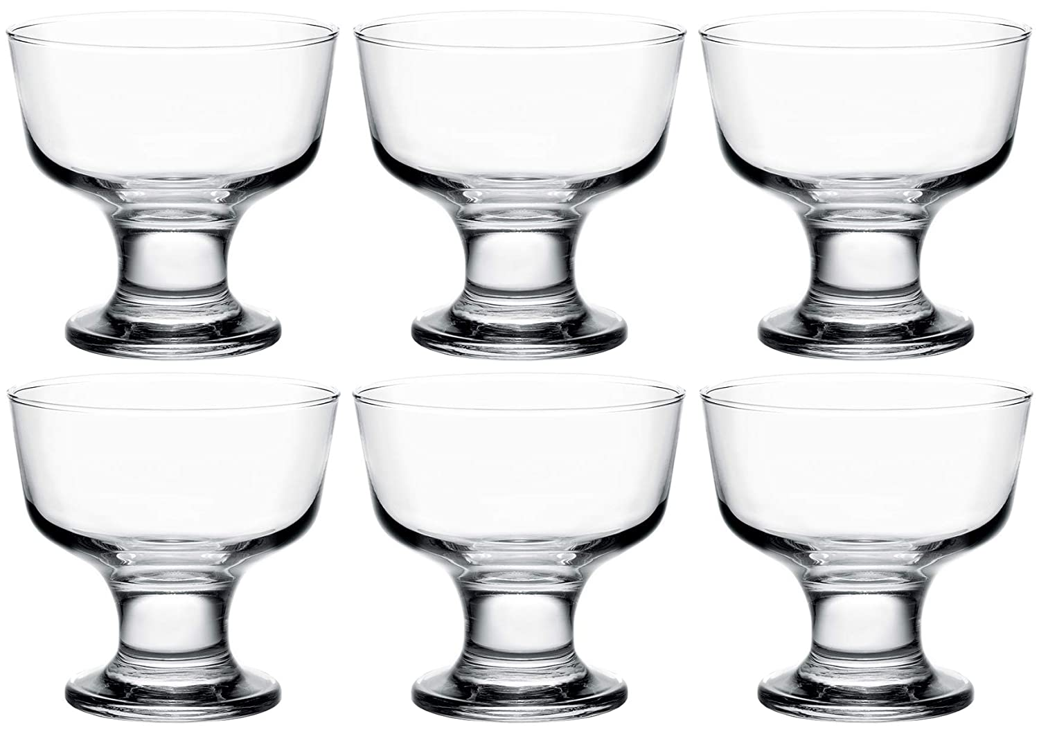 Destina Classic Footed Dessert Cups 9.75 OZ Set of 6 Clear Glass Ice Cream Bowls