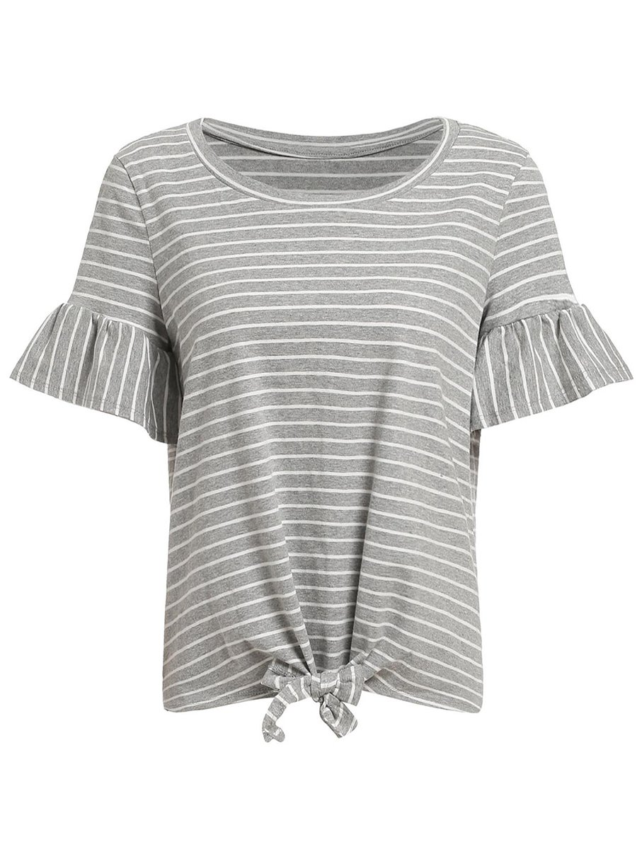 Romwe Women's Short Sleeve Tie Front Knot Casual Loose Fit Tee T-Shirt Grey XL