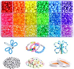 VICOVI 2250+pcs Pony Beads Kit in 18 Colors, Rainbow Color Beads for Kids DIY Craft Gift, Bracelet, Hair Beads.