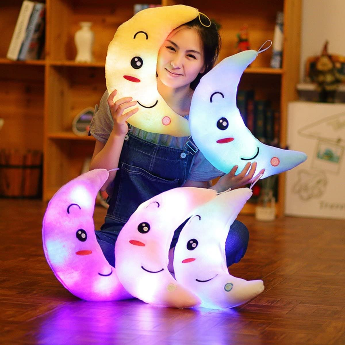 LED Luminoso Luna Almohadas de felpa Bebé Niños Juguetes de peluche Decoración navideña (Azul)