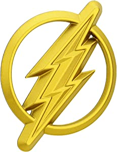 Fan Emblems The Flash Logo 3D Car Emblem Gold, DC Comics Justice League Automotive Sticker Decal Badge Flexes to Fully Adhere to Cars, Trucks, Motorcycles, Laptops, Windows, Almost Anything