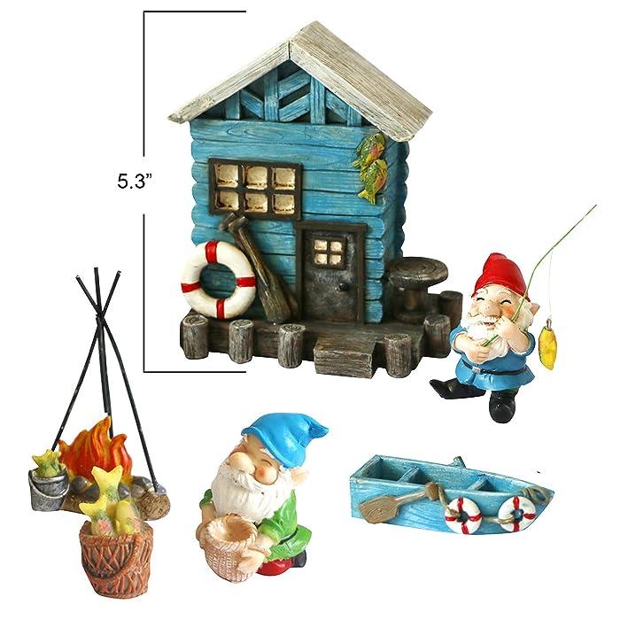 BangBangDa Miniature Fairy Garden Gnomes – Small Gnome Figurines & Accessories – Gnome House for Outdoor or Indoor Garden Decor(Set of 6)