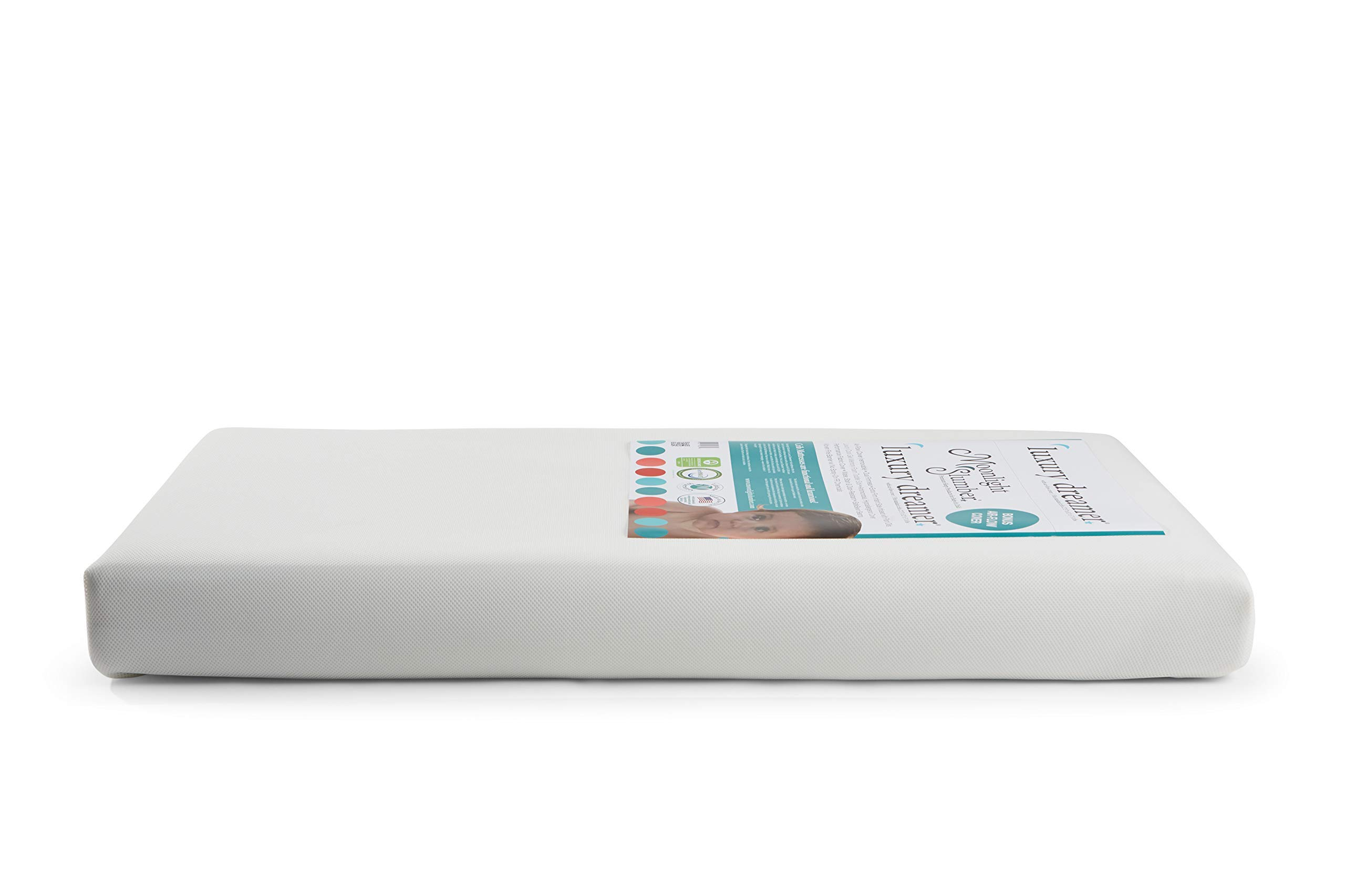 Moonlight Slumber Luxury Dreamer Crib Mattress with Dual Surfaces: Airflow Sleep Surface on Firm Infant Side, Cooling Memory Foam on Toddler Side. Lightweight, Waterproof, Hypoallergenic. Made in USA by Moonlight Slumber