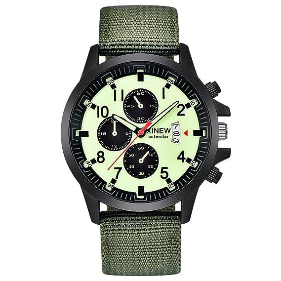 Hosaylike Reloj De Hombre Militares Acero Acero Fecha Cuarzo ...