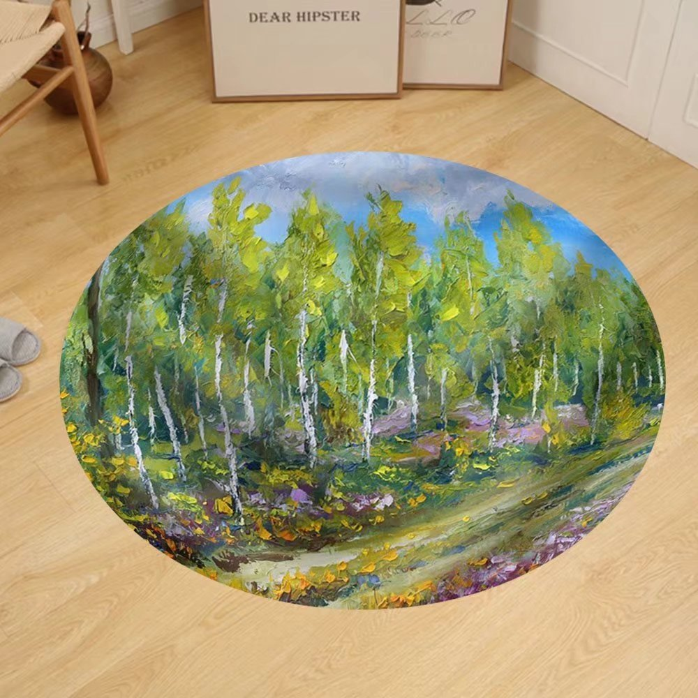 Gzhihine Custom round floor mat Oil Painting of Wood Beautiful Trees and Flowers in the Forest by Gzhihine (Image #1)