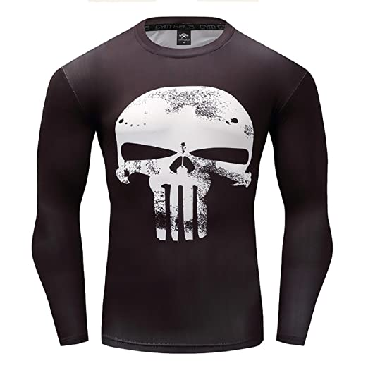 3f224fc2d017 Punisher Compression Shirt Cosplay Costume Long Sleeve Tops Male Crossfit  Fitness (Small, White)