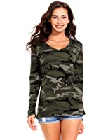 ISASSY Womens Casual V Neck Long Sleeve Camouflage T Shirt Tops Blouse
