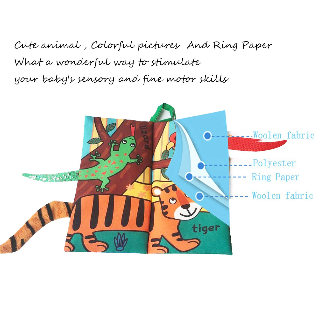 Leeotia Jungle Animal Tail Cloth Books/ Fabric Activity Crinkle Book, Handmade Educational Toys for Baby, 1 Year Old, Gift for Babies/Toddler (Rain Forest Animal Tail)