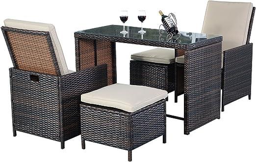 Rata Muebles de Jardín muebles de jardín jardín Asiento Grupo Polirratán Juego ratán sintético Incluye cojines: Amazon.es: Jardín