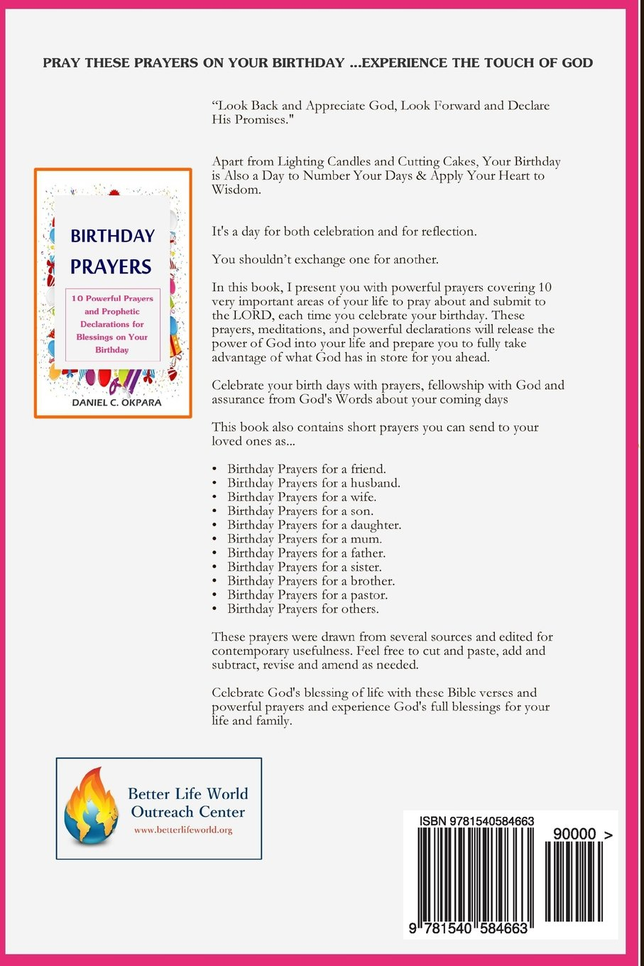 Birthday Prayers Declaring Gods Promises Over The 10 Most Important Areas Of Your Life On Daniel C Okpara 9781540584663 Amazon