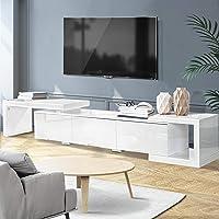 Artiss TV Unit 172cm to 290cm Length Adjustable Entertainment Unit High Gloss TV Cabinet Console Table, White
