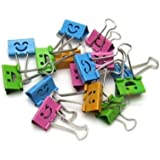 DOOPOOTOO Smiling Binder Clips ,19mm ,Assorted Colors ,40 Clips per Tub