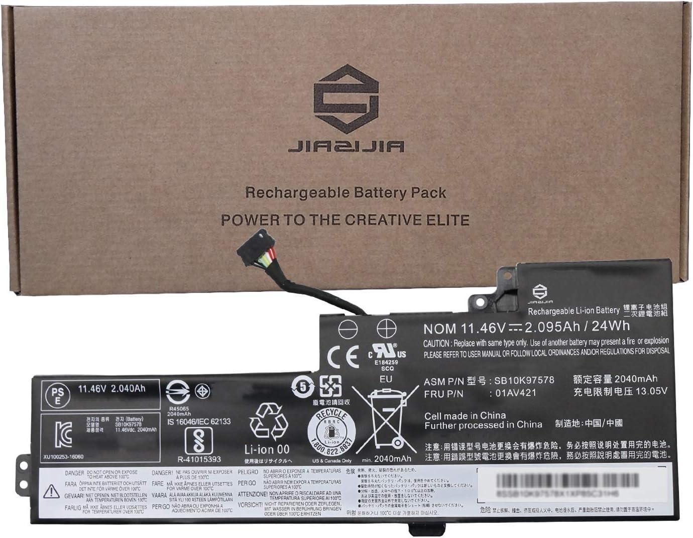 JIAZIJIA 01AV421 Laptop Battery Compatible with Lenovo ThinkPad T470 A475 T480 A485 TP25 Series Notebook 01AV419 01AV420 01AV489 SB10K97576 SB10K97577 SB10K97578 Black 11.46V 24Wh 2095mAh 3-Cell