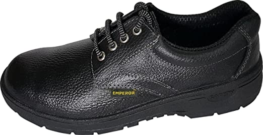 EMPEROR Black Leather Safety Shoes