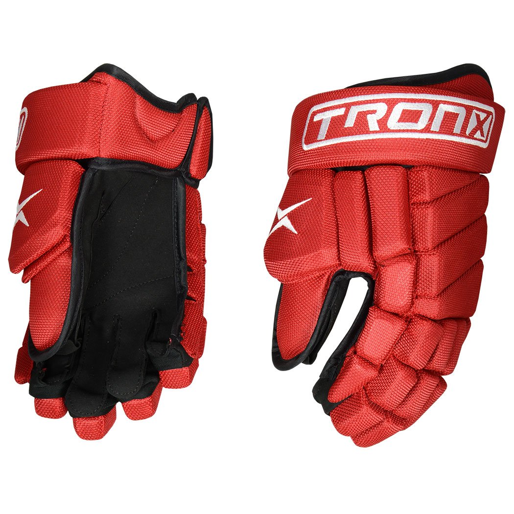 TronX Team LS Hockey Gloves (13 Inch Red)